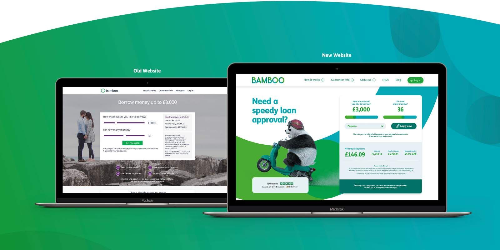 Bamboo old website vs new website